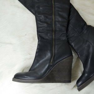 Lucky Fabia Black Leather Over Knee Wedge Boot NEW
